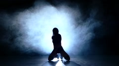 striptease dancer laying on floor, lace on face, Slow motion, smoke - stock footage