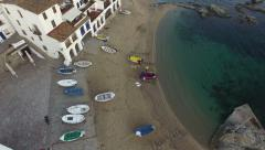Mediterranean Fishing Village Vertical High Aerial Shoot Stock Footage