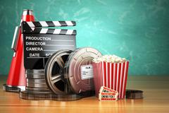 Video, movie, cinema vintage production concept. Film reels, clapperboard, ti Stock Illustration