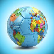 Stock Illustration of World championship concept. Soccer or football ball with world map.
