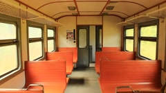 inside of carriage of electric train - stock footage
