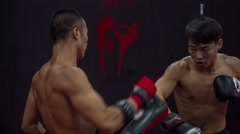 Professional sportsman young fighters school sparring training hd china Stock Footage
