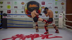 Professional sportsman young fighters sparring training hd china Stock Footage