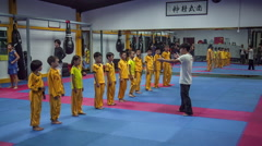 Children martial fighters school training start hd china Stock Footage