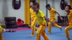 Children martial fighters school training warm-up start hd china Stock Footage