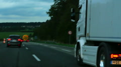 Cars and trucks at Autobahn near Phorzheim, slow motion. Stock Footage