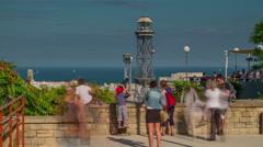 Montjuic mountain mediterranean sea barcelona panorama 4k time lapse spain Stock Footage