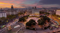 Barcelona sunset night placa de catalunya roof panorama 4k time lapse spain Stock Footage