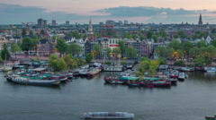 Amsterdam sunset dock port roof top panorama 4k time lapse netherlands Stock Footage