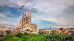 Barcelona main cathedral sagrada familia construction 4k time lapse spain Stock Footage