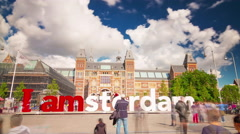 amsterdam city symbol national museum front 4k time lapse netherlands - stock footage