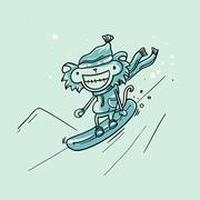 Vector Monkey snowboarder Stock Illustration