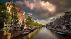 sunny day amsterdam city canal panorama 4k time lapse netherlands - stock footage