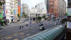 Medium shot of Taipei street traffic - stock footage