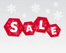 winter sale with snowflakes poster - stock illustration