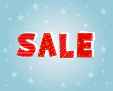 Winter sale with stars poster Stock Illustration