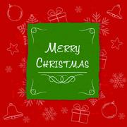 Stock Illustration of merry christmas in green frame, greeting card