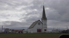 Old Church Under Cloudy Sky in Nome Alaska Stock Footage