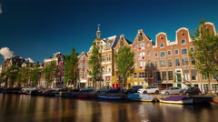 sunny day amsterdam canal bay panorama 4k time lapse netherlands - stock footage