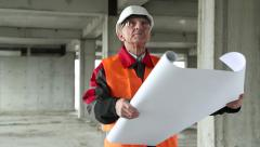 Manager of the works at construction site Stock Footage