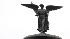 Angel statue in Central Park in New York Stock Footage