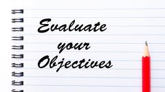 Evaluate Your Objectives - stock photo