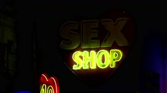 Sex shop in Paris. Night. France. 4K. Stock Footage