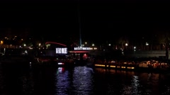 The River Seine in Paris. Night. France. 4K. Stock Footage