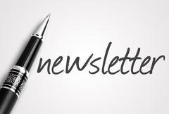 pen writes newsletter on white blank paper - stock photo