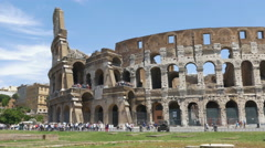 Tourists visiting the Coliseum or Colosseum in Rome, Italy. Stock Footage