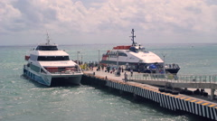 Passengers boarding on ferry to cozumel Stock Footage