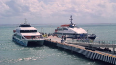 Passengers boarding on ferry to cozumel timelapse - stock footage