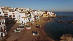 Fishing Village Aerial Shoot at Sunset Stock Footage