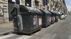 Garbage bins on Via Cavour in Rome, Italy. Stock Footage