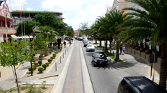 Oranjestad, Aruba, street view, high angle moving through charming city streets Stock Footage