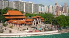 Hong Kong - Visitors entering Wong Tai Sin Temple. 4K resolution. - stock footage