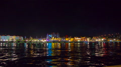 Curacao, Willemstad, timelapse harbour restaurants lively waterfront by night Stock Footage