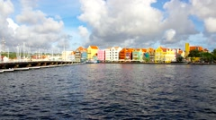 Curacao, Willemstad, automated bridge closing across bay Stock Footage
