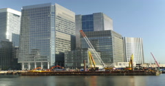 Time Lapse of Construction Work in London's Canary Wharf Financial District Stock Footage