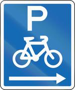 New Zealand road sign - Parking for bicycles on the right of this sign - stock illustration