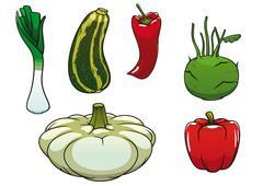 Healthy fresh and ripe farm vegetables - stock illustration