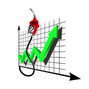 Chart of growth fuel prices with gas pump nozzle Stock Illustration