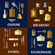 Cooking utensil and kitchenware flat icons Stock Illustration