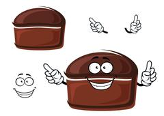 Cartoon brown homemade rye bread character - stock illustration