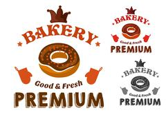 Pastry emblem with glazed doughnut and text - stock illustration