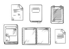 Book, notebook, notepad and diary sketches Stock Illustration