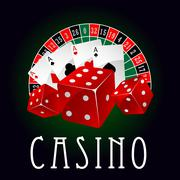 Casino icon with aces, dice and roulette wheel Stock Illustration