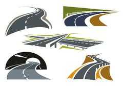 Road, freeway and highway icons set Stock Illustration