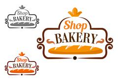 Bakery shop icon with cartouche and loaf - stock illustration