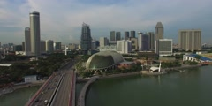 Stock Video Footage of aerial 180 degree pan from Singapore esplanade
